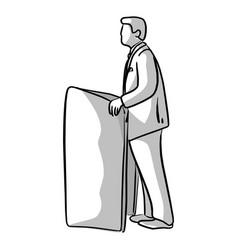 Businessman talking on podium vector