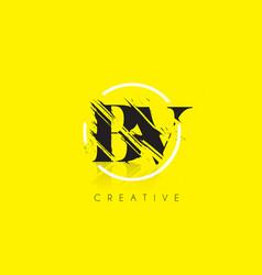 Bv letter logo with vintage grundge drawing vector
