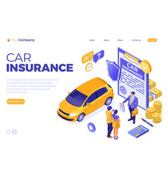 Car insurance isometric concept vector