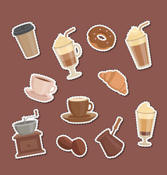 cartoon coffee types stickers set vector image