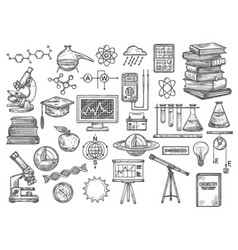 chemistry and research equipment icons vector image