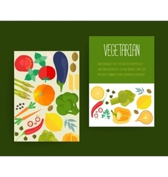 Concept banners with flat icons for vegetarian vector image