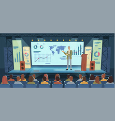 conference business audience meeting hall speaker vector image