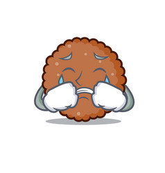 Crying chocolate biscuit mascot cartoon vector