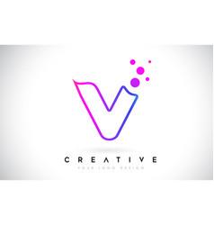 Dots letter v logo v letter design with vector