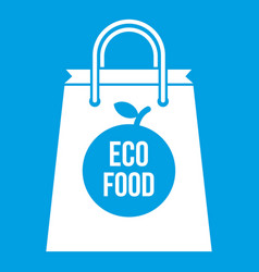eco food bag icon white vector image