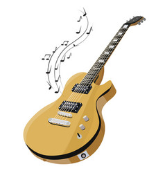 electric guitar makes a sound colored guitar with vector image