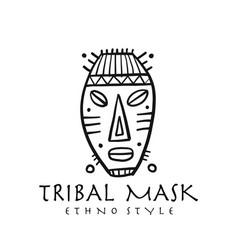 Ethnic tribal mask decor handmade background vector