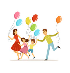family festive day parents with children spend vector image
