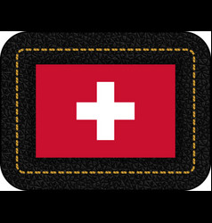 Flag of switzerland icon on black leather vector