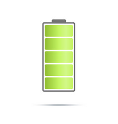fully charged battary icon on light background vector image