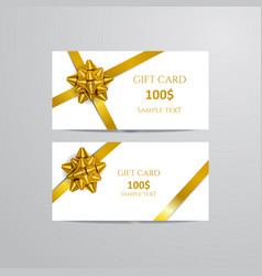 Gift cards with gold bow and ribbon vector