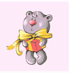 greeting card with cute baby teddy vector image