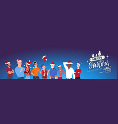 group of people wearing santa hats merry christmas vector image