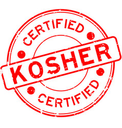 Grunge red kosher certified word round rubber vector