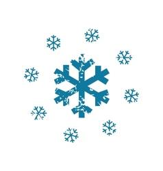Grunge snowing icon vector