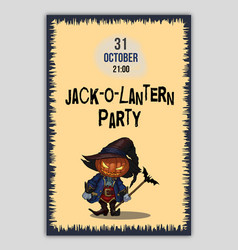 halloween party flyer with jack-o-lantern vector image