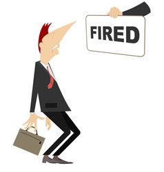 hand with banner and fired worker concept vector image