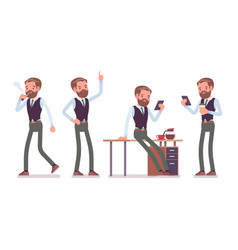 Handsome male office employee working vector
