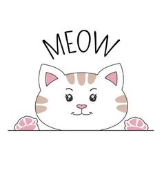 Happy cartoon kitty and inscription meow vector