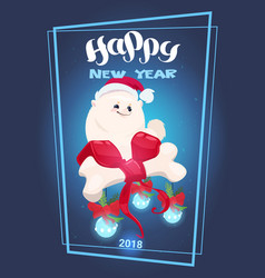 happy new year 2018 lettering with dog in santa vector image