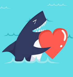 happy valentines day with cute shark valentines vector image