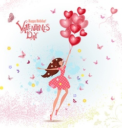 happy young woman with red heart air balloons vector image