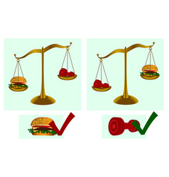 healthy lifestyle dumbbell hamburger scales vector image