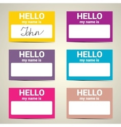 Hello My Name Is Name Tag Set vector image