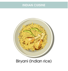 Indian cuisine biryani rice traditional dish food vector