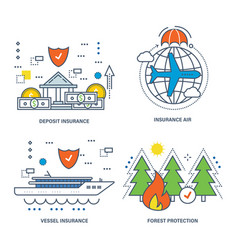 insurance types of insurance protection vector image