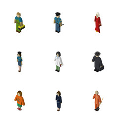 Isometric person set of plumber policewoman vector