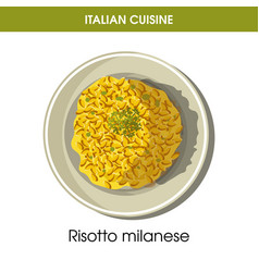Italian cuisine risotto milanese rice icon vector