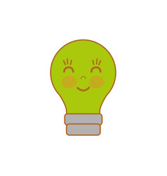 Kawaii cute happy bulb icon vector