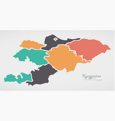 kyrgyzstan map with states and modern round shapes vector image