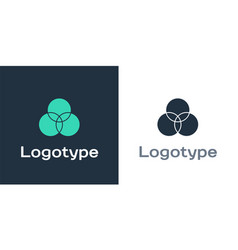 Logotype rgb and cmyk color mixing icon isolated vector