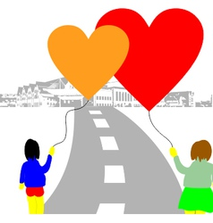 Love baloon hearts on the street vector