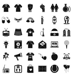 man clothes icons set simple style vector image