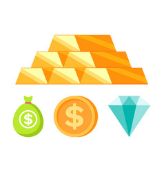 money and coins bullion and diamond bank vector image