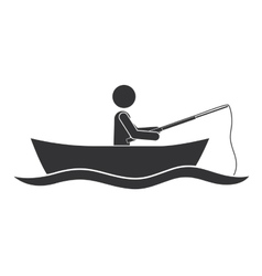 Monochrome silhouette with man in boat of fishing vector