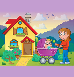 mother with baby near house vector image