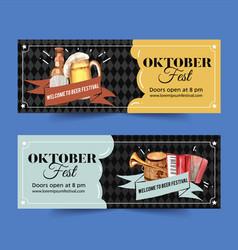 Oktoberfest banner design with beer vector