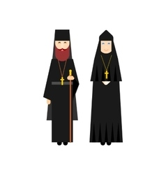 Orthodox men and women monks vector