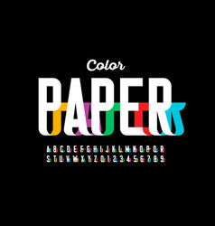 paper craft style font vector image
