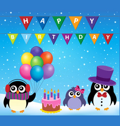 Party penguin theme image 8 vector