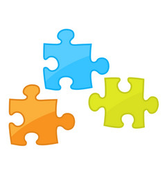 Pieces of jigsaw puzzle game - motley components vector