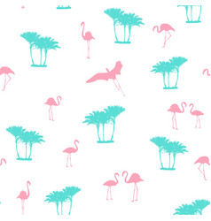 Pink flamingo blue palm trees seamless pattern vector
