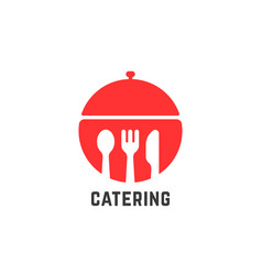 red catering service logo isolated on white vector image