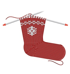 Santa red sock knitted on the needles vector