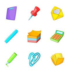 School stationery icons set cartoon style vector